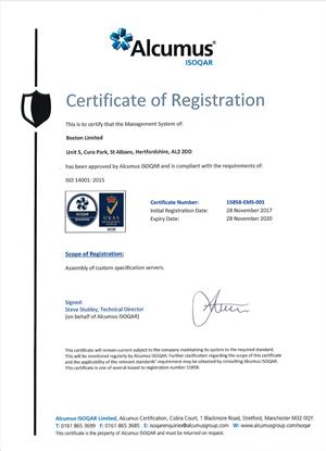 Alcumus Boston Certificate ISO 14001:2015