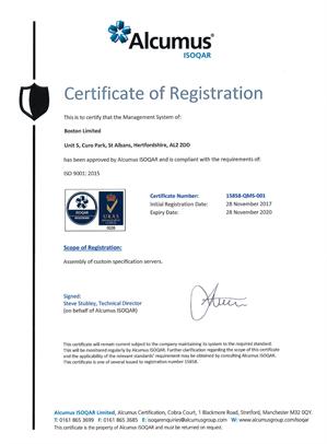 Alcumus Boston Certificate ISO 9001:2015