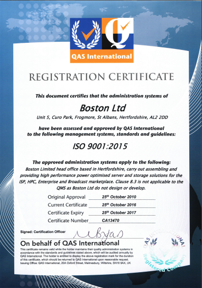 Boston Limited - ISO 9001:2008 Certificate