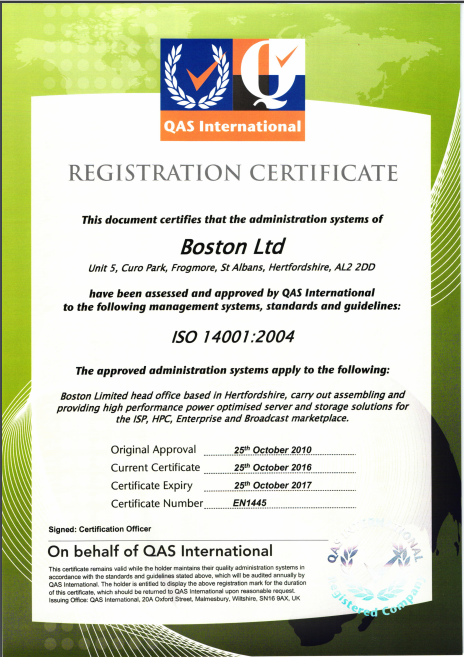 Boston Limited - ISO 14001 2004 Certificate
