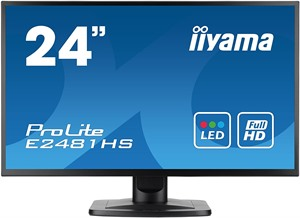 "Iiyama 24"" ProLite E2481HS-B1 Slim Bezel LED Monitor Full HD with HDMI/DVI Fast 2ms"