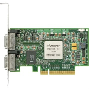 Mellanox InfiniHost III Ex HCA Card, Dual-Port, DDR 20Gb/s, PCIe x8, MemFree, tall bracket, RoHS R5