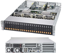 Figure 12: Supermicro's 2028U-TN24R4T+ with 24 x NVMe bays in a 2U chassis